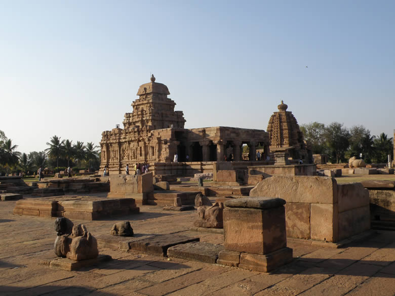 You can see it is a large structure but the temple is effective. The sculptures are unfinished which indicate that the structure was left incomplete for some reason. Inscriptions indicate name of sculptor as Paka. Since this picture taken from a distance can see the ruins. To the right of picture is the Galaganatha Temple. What you see in front are ruins of earlier structures.