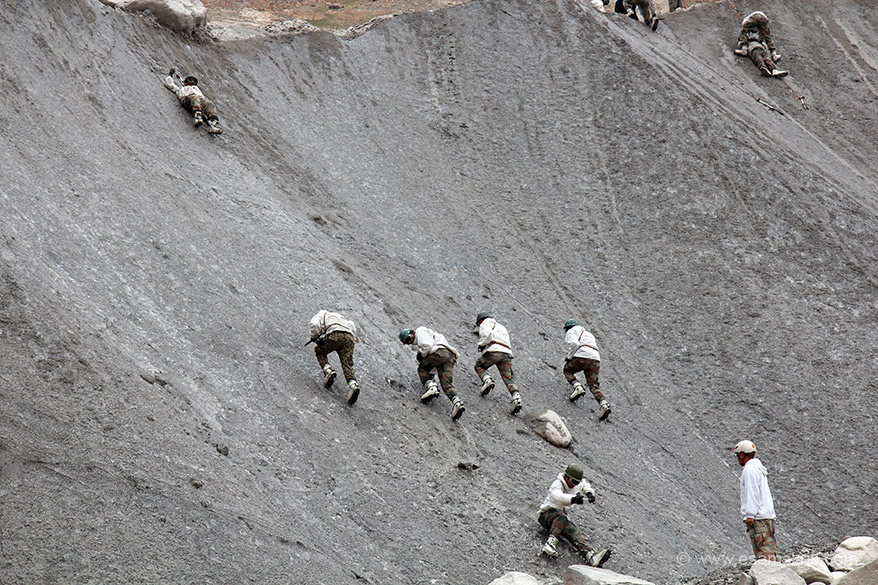 Ladakh is incomplete without the fauj i.e. army. Jawans undergoing training on a ice wall at the Siachen Base camp.
