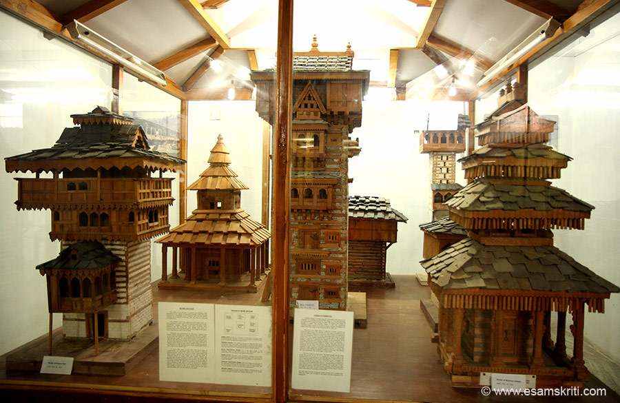 Inside the private museum. Wooden model of key monuments in region. Left front is Kamru Fort in Sangla. Behind that is Prashar Temple. Centre right in front is Gondhla Fort. Behind that is a