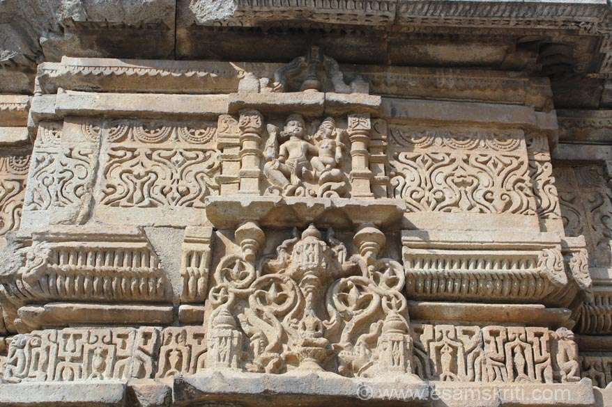 Close up of panel in the Bhairav temple. Lower level is a Kalash.