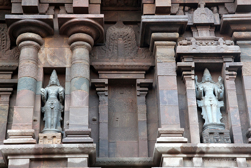 Sculptures in niches of gopuram. Right looks with Shiva with chinmudra. Left pic not sure. Please help. Wearing dhoti for men is compulsory to enter temple.