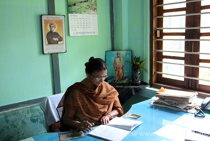 Pic of Principal Smt Ranjana Srivastava. She is from Uttar Pradesh - Azamgarh district and has been teaching at VKV schools for the last 23 years.  Admire teachers like Smt Srivastava who have dedicated their lives to teaching the children of Arunachal Pradesh.