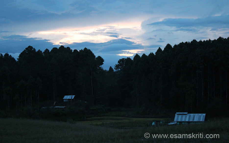 A view of the sky after sunset. Did not do but was told the 170 kms drive from Ziro to Koloriang (inhabited by Nyishi community) is a traveller``s dream come true. Its wooden hanging bridges are exciting to walk on. Of all