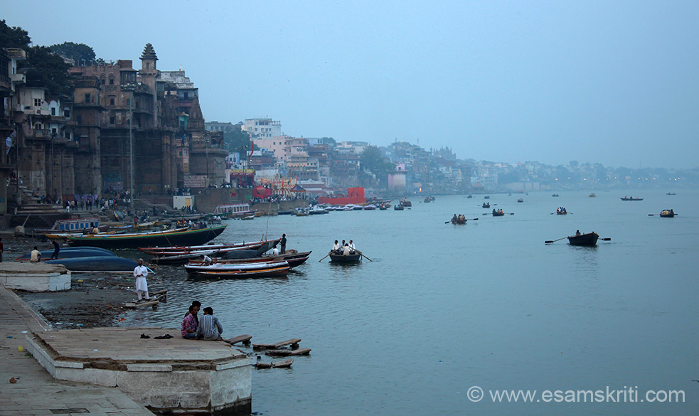 Early morning view of the ghats taken from Kedar Ghat.