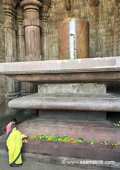 "The Shiva Lingam at the Bhojpur Shiv Mandir was built by Raja Bhoj over a 1000 years ago. ""The lingam in the sanctum rises to 7.5 feet with a circumference of 17.8 feet. Set upon a massive