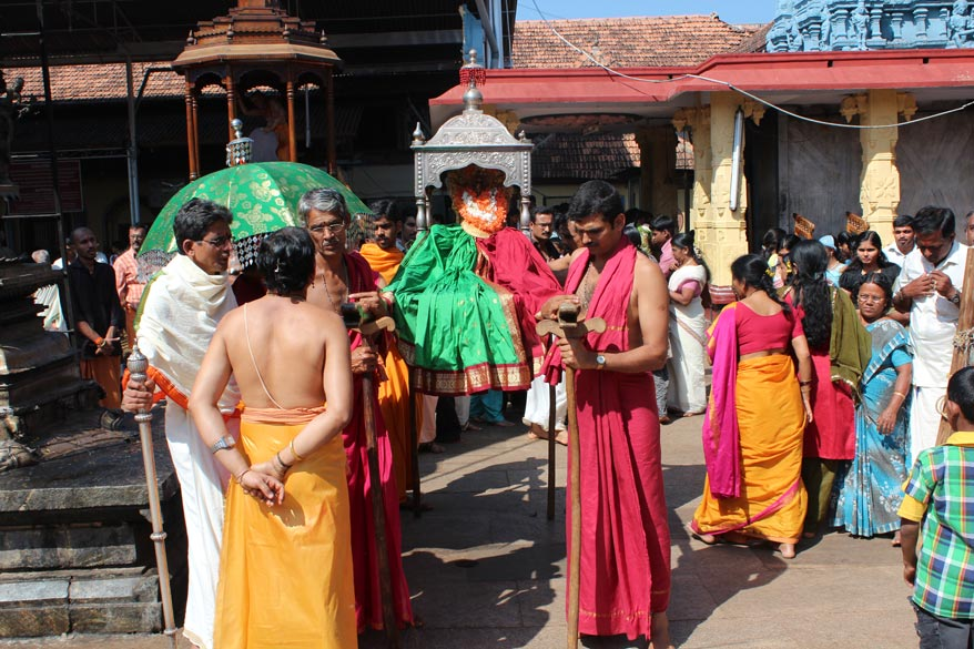 "After I think three rounds of the temple Devi taken and placed in the chariot. Some narrations taken from this site. To know more  <a href=""http://hinduism.about.com/od/temples/a/mookambika_kollur.htm"" target=_blank>click here</a>"
