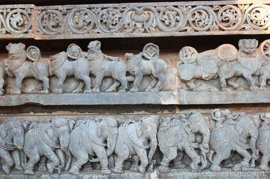 Close up of panel lower portion - elephant, lion and flower creepers. There is a Museum in the temple complex. Worth a visit.
