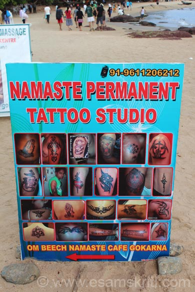 Om Beach has exotic places like this tatoo studio. Honestly should have ventured in but missed that experience. There is an Internet Café on the beach as well.