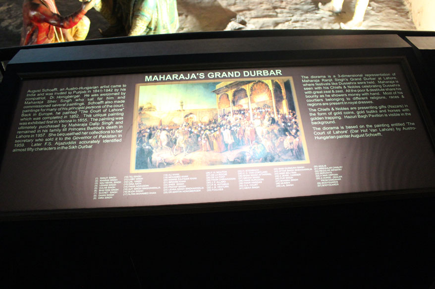Board that refers to Ranjit Singh grand durbar. All narrations besides what appears on the board taken from The History n Culture of Indian People published by the Bhartiya Vidya Bhawan.