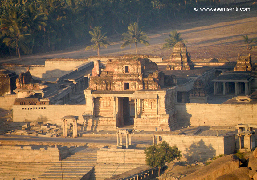 A close view of the Krishna Temple taken at sun rise time from the Matanga Hill, Hampi``s highest point. Inscription records that an image of Bala-Krishna was brought here by the king