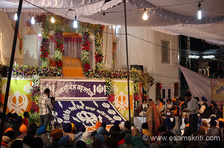 Inside Keshgarh Sahib a day before Hola Mohalla. Centre of pic is the Adi Granth.