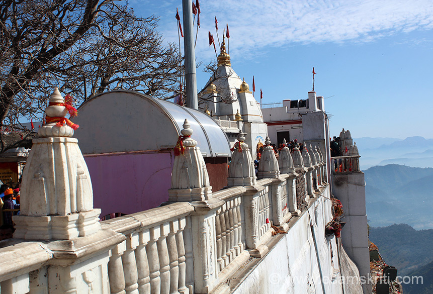 "Side view of temple. Note it is on top of the hill. Mata ki kripa hai that the temple exists as is. ``Guru Gobind Singh was a worshipper of the Divine Mother (Shri Bhagauti/Bhagawati). Not only did he entrench Her in the Ardas as is evident from his writings, but also sought Her blessings for the completion of the holy Granth Sahib``. To read more on blog by Jagbir <a href=""http://www.adishakti.org/forum/guru_gobind_singh_was_a_worshipper_of_the_divine_mother_shri_bhagauti_bhagawati_4-07-2009.htm"" target=""_blank""> Click here </a>"