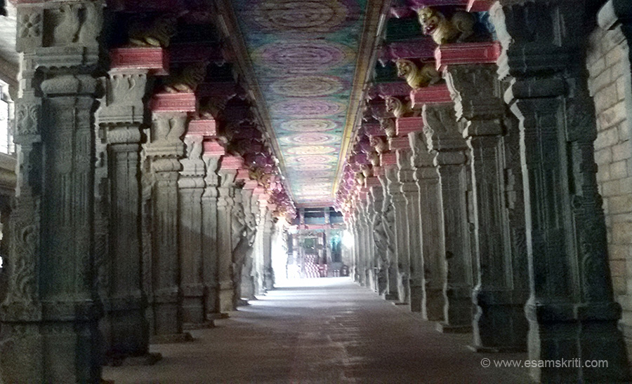 Long corridors. All inside pics with cell phone. Wish had a APPLE phone only for this day. Since interior parts of temple dark all lit up. Wish they allow serious photographers to take pics inside
