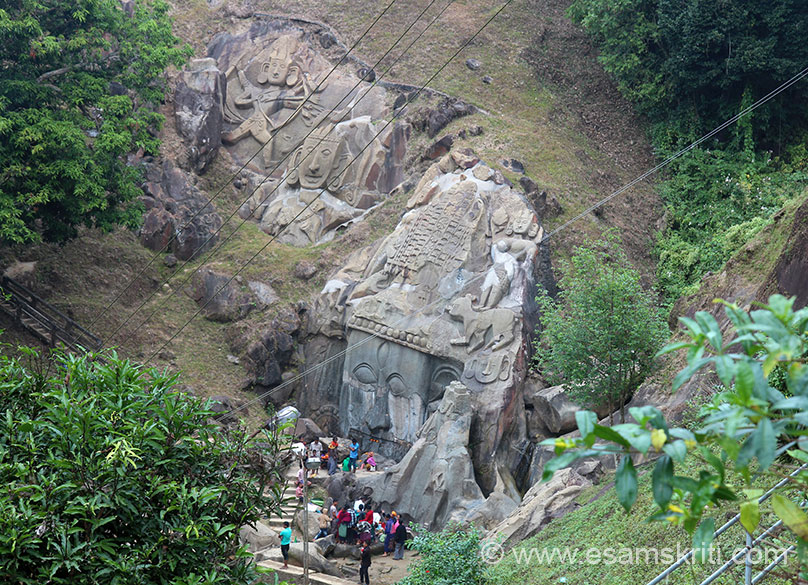 Top view of rock-cut reliefs. Puja was in progress when I visited. Right of pic is Shivji head (more than 6m high). Extreme left is Shri Ram with bow and arrow, next to him is brother Lakshman.