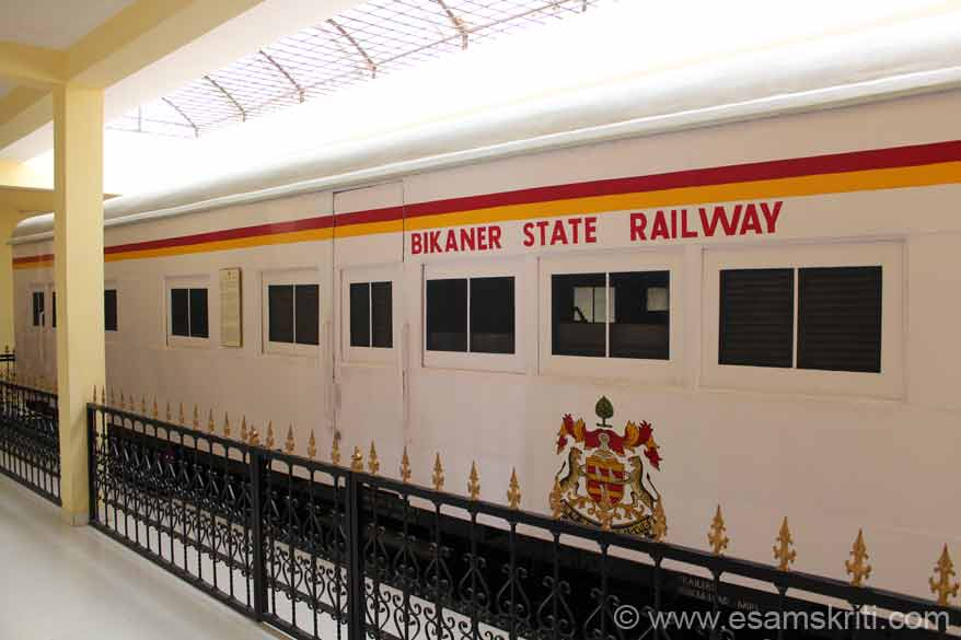 Coach of Bikaner State Railway. The metre gauge railway coach that you see was purchased by the Bikaner State Railway in 1946 and used by the Maharaja. The Maharaja could use this coach anywhere in India where meter gauge existed. This practice existed till 1972.