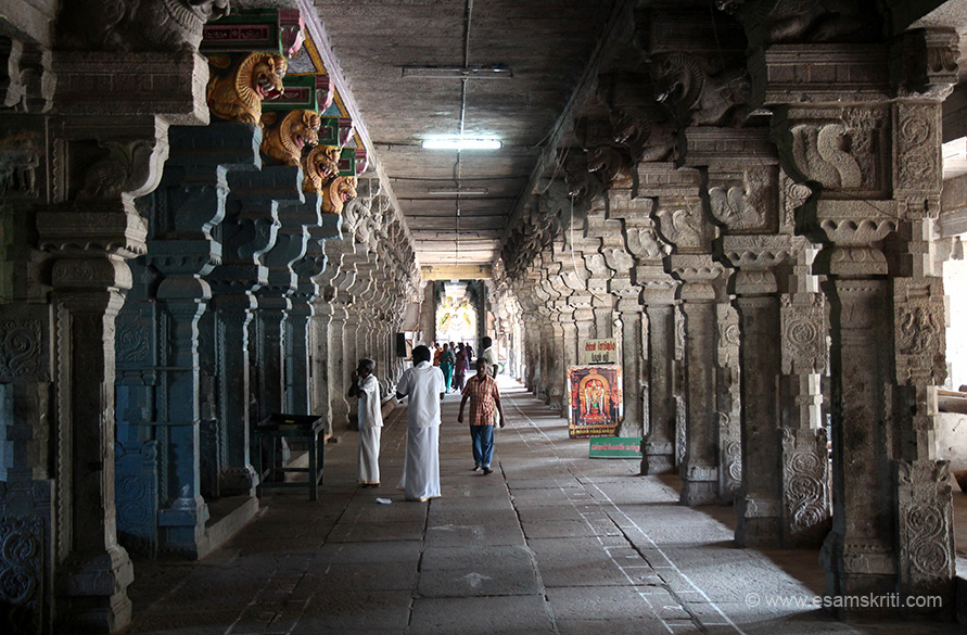 View of temple corridor from opposite side, end of pic is NANDI.