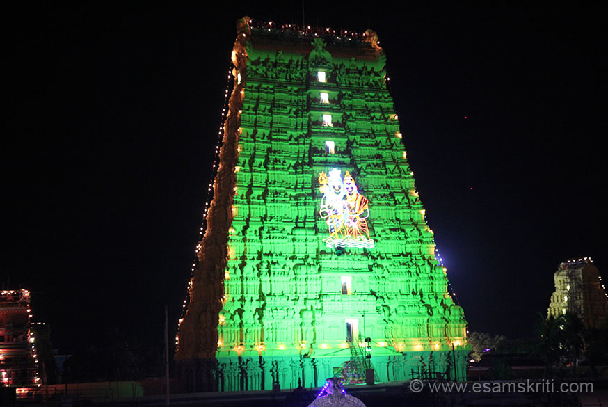 Close up of gopuram at night with Shiva Parvati light design clearly visible. Right of pic is north side gopuram.