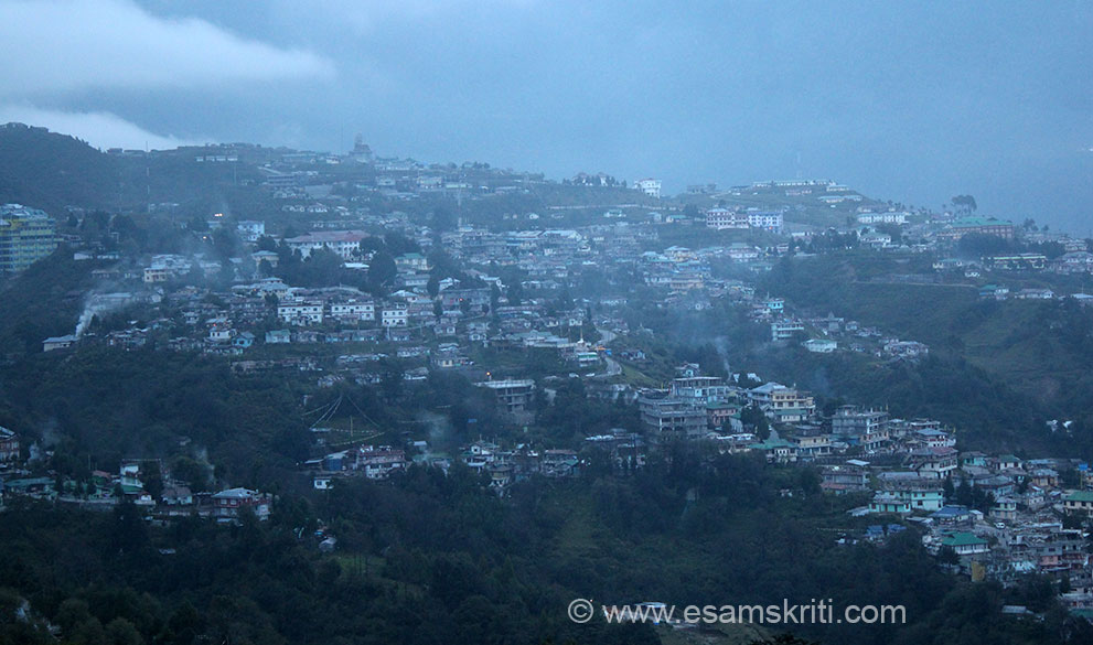 "A view of Tawang town from the monastery. Was about 5 pm. We went in Sept - very cold and foggy. See pics of Golden Pagoda at Chowkham in Arunachal <a href=""http://www.esamskriti.com/photo-detail/Golden-Pagoda-Monestery.aspx"" target=""_blank""> Click here </a>"