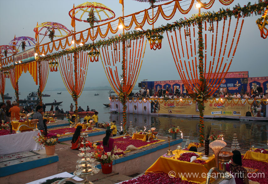 The light was beginning to fade. Devotees anxiously wait for start of the function. Each platform as you see was beautifully decorated. All walking on this platform had to remove