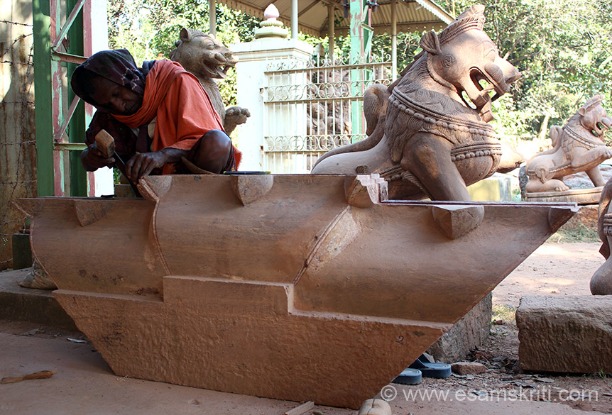 Carving a Part of Temple Top.