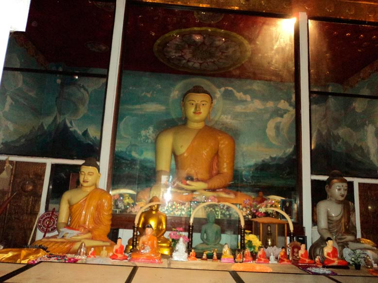 The Buddha temple inside the Bodhi tree compound. Every evening devotees offer fresh lotus flowers to the image of the Buddha.