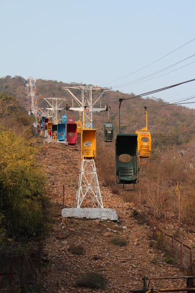 Rajgir is very famous for the Vishwa Shanti Stupa and this ropeway. Drive to Shanti Stupa base is lovely, like through a mini forests. Rate is Rs 40/ for a two way ride. This pic is from base of hill to the top.