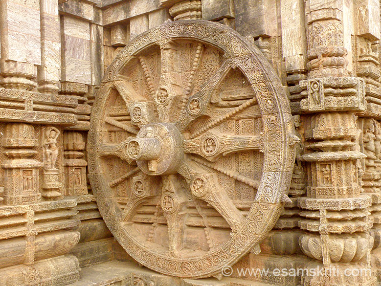 Another Wheel. They are so realistic that they even have an axle kept in position by a pin as it would be in an actual cart or chariot. The hub of the wheel is decorated with beaded rings and a row of lotus-petals, the latter in some wheels have dancers and musicians rhythmically sculptured.