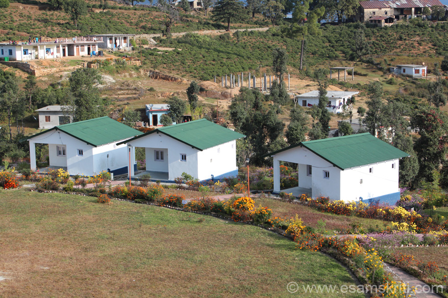 View of Kumaon Mandal Vikas Nigam cottages - very nice and cosy. Road that u see at end of pic takes u to sun rise point. Locals say 10 years ago this entire area was forests now