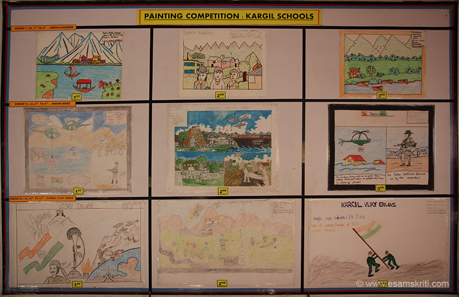 Painting Competition - student work on display. AGS Harka Bahadur provides Quality Education in remote area of Kargil.