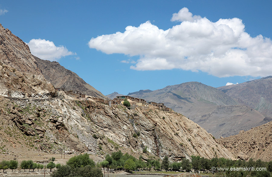 Way back to Kargil. Road is where the houses are in pic.