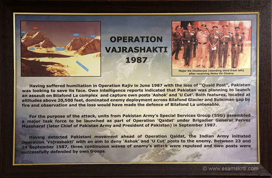 Details of Operation Vajrashakti 1987. Between 23 and 24 September three continuous waves of enemy attacks were repulsed and post defended.