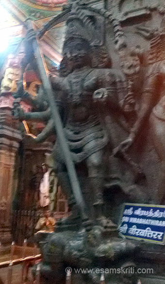 SRI VIRABHATHIRAR image, form of Shiva. In Hindi think would say Virbhadra.