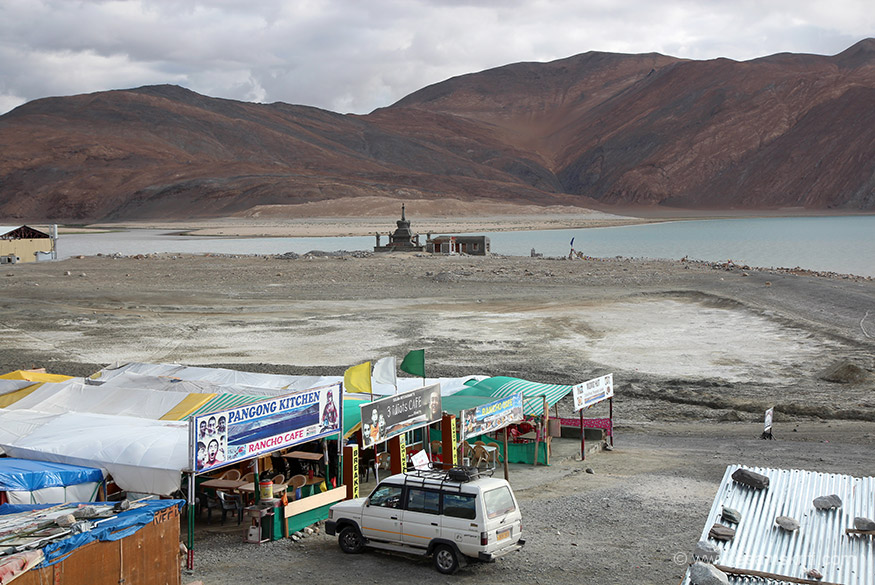 Qualis vehicle that you see is the one I used. Served me well. Pangong Kitchen is the place where I ate meals. Very good food both Indian and Chinese. There are about 6 rest in this part of 