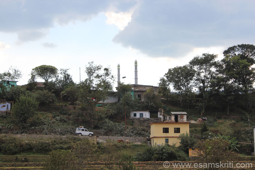 Mosque on top of hill ie opposite the Baijnath temple complex. In Bageshwar, Nainitial and now here noted that there is always a mosque very close to a temple. By design or accident?