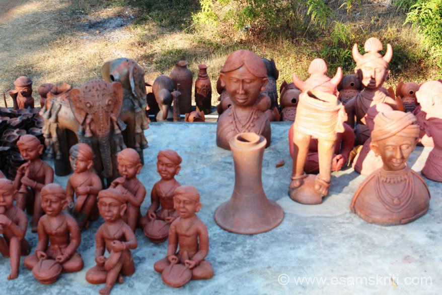 Some more terracotta products on display. The animal and bird shaped figures represent the ethos of the ancient cultural stages of human life. The NGO also has a farm and 