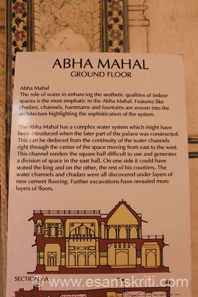 Board at entrance of Abha Mahal. It has a complex water system that u shall see later. Very creative, unique ways to keep the palace cool.