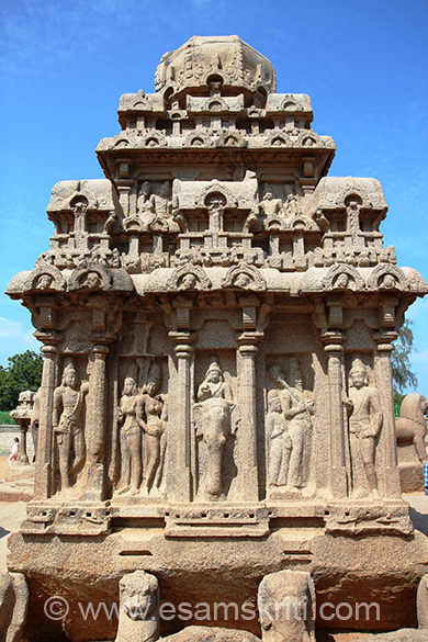 Rear side of Arjuna Temple. Centre of pic u see Indra on Airavata (Skanda on elephant). Left panel that I did not click had Vishnu leaning on Garuda. Above lower panels are mithuna figures or royal couples. Attempt of sculptor to represent many figures in full and three-quarters profile shows a mastery of skill. At base u see lion on left side and elephant on right - never seen this before. This alternate thing is on 4 sides of the ratha.