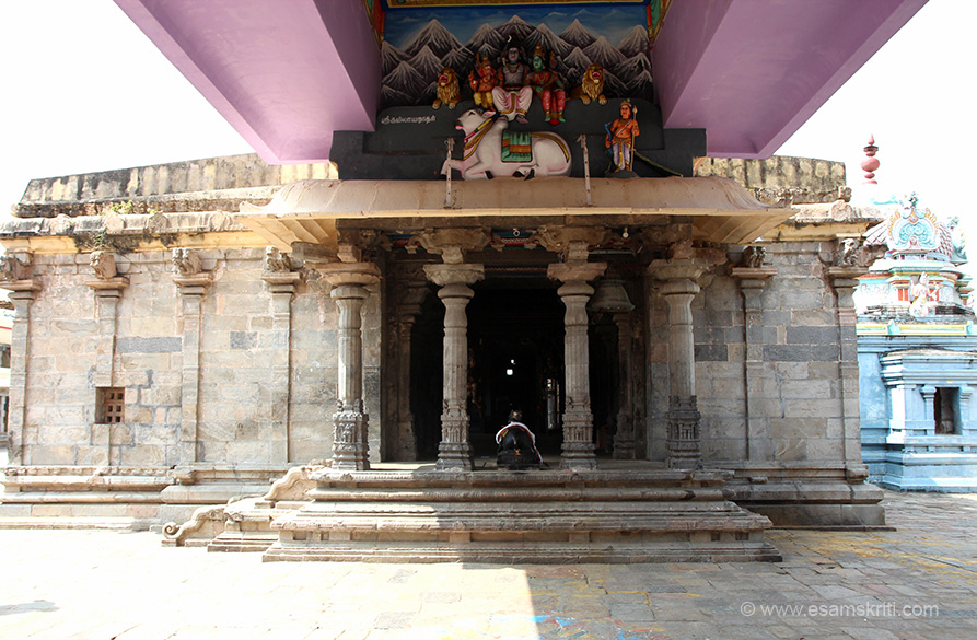 "Mandapam with Nandi in front. Top pic Shivji in his abode Kailash. ""Those who visit Thiruvengadu will find relief from puthira dosham, poor studies, mental instability, nervous disorders. Knowledge, music, astrology, maths, sculpting, medicine, language skills are the beneficial aspects of Budan..""