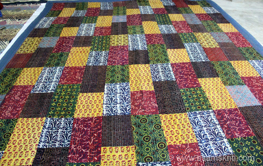 This is Azrak print patchwork double sheet 95 by 108 cost app Rs 4,500/. If you like to buy Sanstha products please contact Vikram Singh gvcsbarmer@gmail.com, phone nos 91 9413308843,