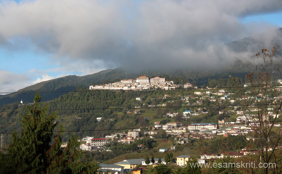 U see Tawang Monastery - distant view. It is an imp seat of Mahayana Buddhism. It was founded during the 17th century by Mera Lama Lodre Gyaltso. It is Asia``s second largest monastery.