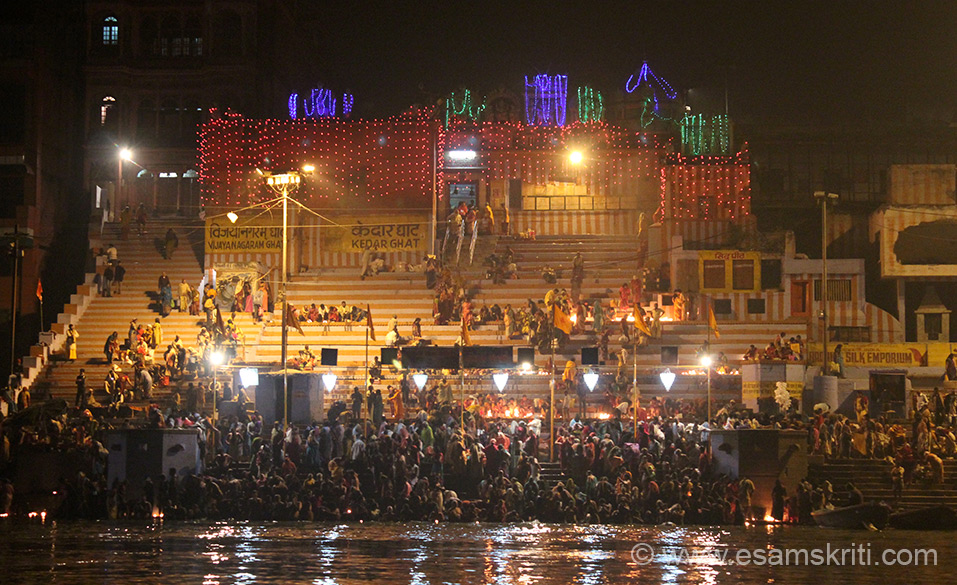 From here on pics are on Kartik Purnima. A Swamini friend said should take a solo boat ride from the first ghat (Assi) to the last Rajghat and back. Left at 5 am and returned by about 11am. Before sun rise pic from boat you see Kedar Ghat. Top is Kedareshwara Temple made in South India style. This linga of Shiva is svayambhu, self-manifest.
