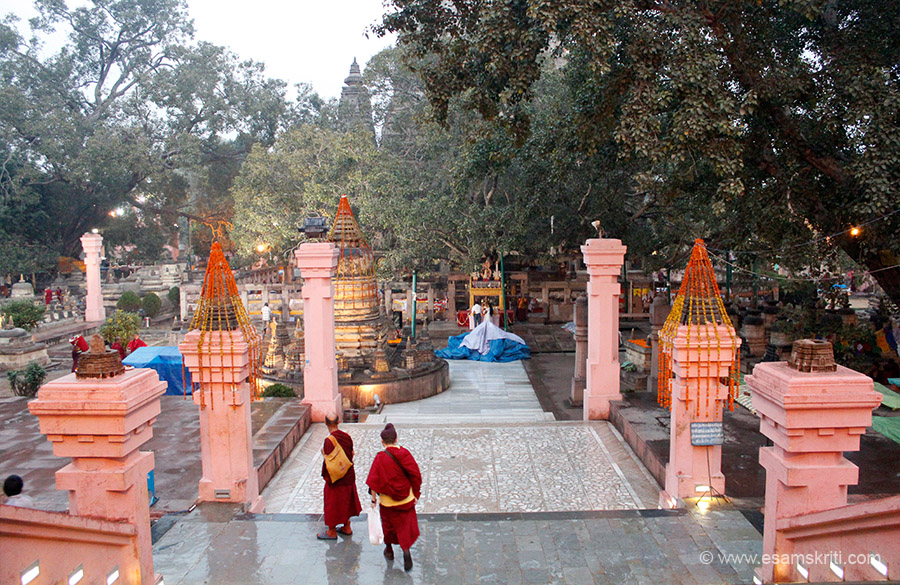 "Temple entrance is east side. This is the west side, at end of pic is the Bodhi Tree. Area below is used for prayers, talks or students as you shall see later. ""After attaining Enlightenment, the 