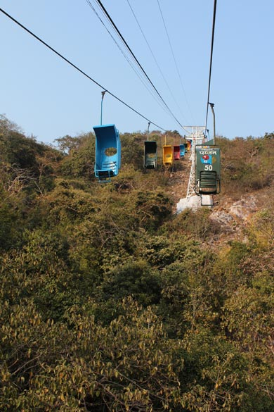 I was at a lower level when clicked this. At this point the gap between the chairlift and the land below is the highest. Better to look up instead of down.