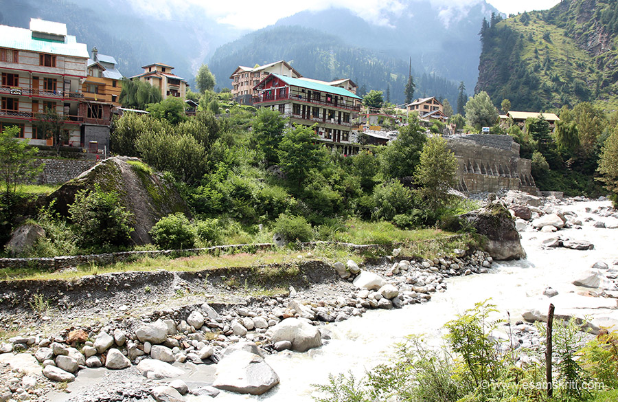 View of hotels with Solang Valley in background.