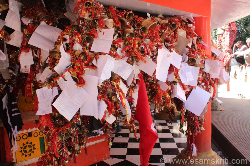 Devotees handwrite their wish and tie it to the bell. Some prayers are written on stamp paper. I was amazed, never seen anything like this before. Saw devotees of all ages.