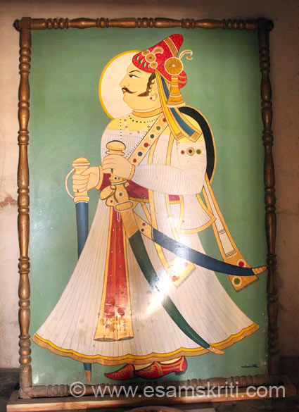 As you enter the Abha Hall is this image of Amar Singh Rathore the most famous king who ruled in the 17th century. While he served Mughal King Shahjahen he eventually got into 