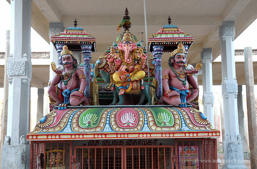 Ganesha greeted us on entering temple, sits under a newly made mandapam. Number of temples saw newly mandapams, they block view of the gopuram in some cases.