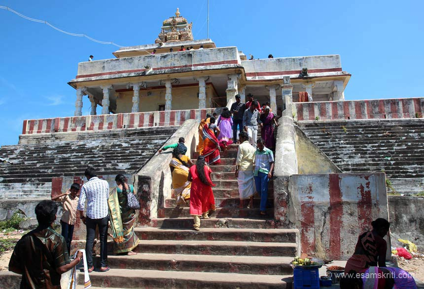 """At Gandamadana Parvatham. It is a hillock situated 3 kms away and is highest point in the island. One can see the imprint of Lord Rama's feet on a chakra here."""
