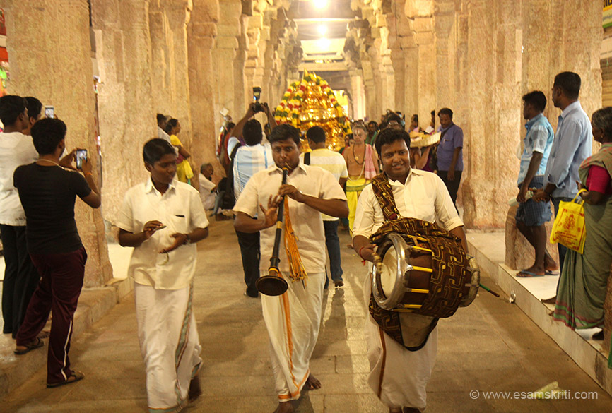 "Local musicians preced the chariot. Visiting the temple during festival was a totally different and great experience. ""Though the Andal temples was built in 788 A.D. It was expanded and 