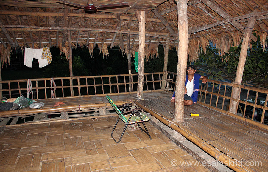 Inside a home ie Dapurijo. Huge open area as you see in front and right hand side of the house, inside are rooms and kitchen. Flooring made of bamboo.